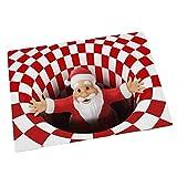 Suave alfombra gruesa Decoración de Navidad, 3D sin fondo Hole Alfombras ilusión, fácil de limpiar Santa Claus Welcome Home Felpudo niños estera de arrastre para el dormitorio de la sala,31.5*47.3in