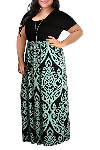 Nemidor Women#039s Chevron Print Summer Short Sleeve Plus Size Casual Maxi Dress22WLight Blue