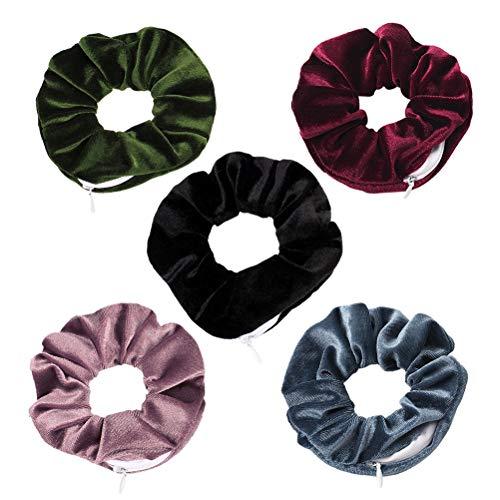 YEKKU Chouchous à cheveux avec poche zippée - Élastiques à cheveux pour femme - Mini sac de rangement pour femmes et filles - Couleur foncée