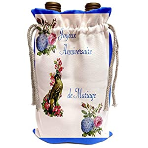 3dRose Florene Sympathy – Image of Happy Anniversary In French With Bird And Flowers – Wine Bags (wbg_243604)