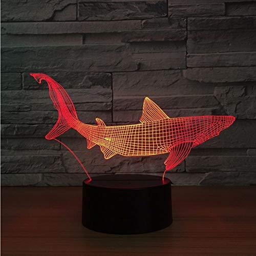 Veilleuses Requin 3D Led Outils De Pêche Dans La Table De Poisson Lampe Home Decor Partie 7 Couleurs Changeante Night Light Chevet Sommeil Decor Light