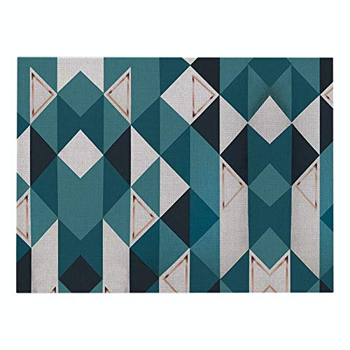 Z-LIANG Geometric Patterns Simple Style Distinctive Placemat Table Napkin Dining Table Mat Bowls Drink Coasters Kitchen Accessories Decoration (Color : CD011 6, Size : Polyester Hemp)