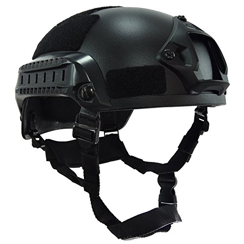 OneTigris Airsoft Paintball MICH 2001 Action Version Tactical Helmet with NVG Mount and Side Rails Black
