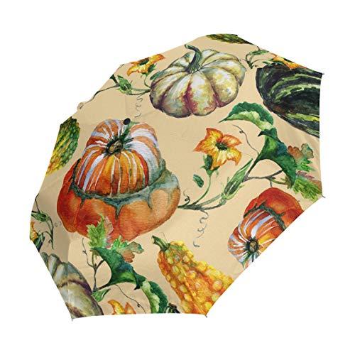 Ieararfre Kompakter Reise-Regenschirm mit Kürbismuster, Winddicht, wasserdicht, automatisches Öffnen und Schließen