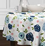 A LuxeHome Blush Pink Green Navy Blue White Shabby Chic Watercolor Rose Flower Floral Overlay Cover Tabletop Tablecloth for Dining Room Kitchen Round 90""