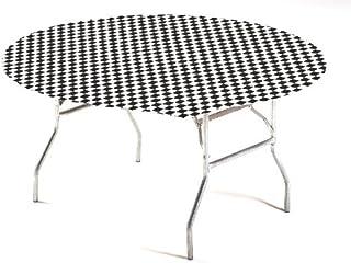 غطاء طاولة بلاستيك ذو زوايا مرنة بنمط مربعات من كرياتيف كونفيرتينغ، مقاس 60 انش × 60 انش بلون اسود