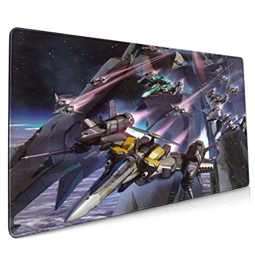 Macross Frontier Anime Large Gaming Mouse Pad,Mouse Mat with Anti-Skid Rubber Base & Stitched Anti-Fray Edges Great for Laptop Computer & Pc Desk Pad15.8x35.5 in