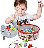 Arkmiido 3 in 1 Giocattolo da Pesca 18 Pezzi, Giochi da impilare, Perline da Infilare, Giocattoli di Legno per la Prima educazione per Bambini di 3 4 5 6 Anni (Edition 2)