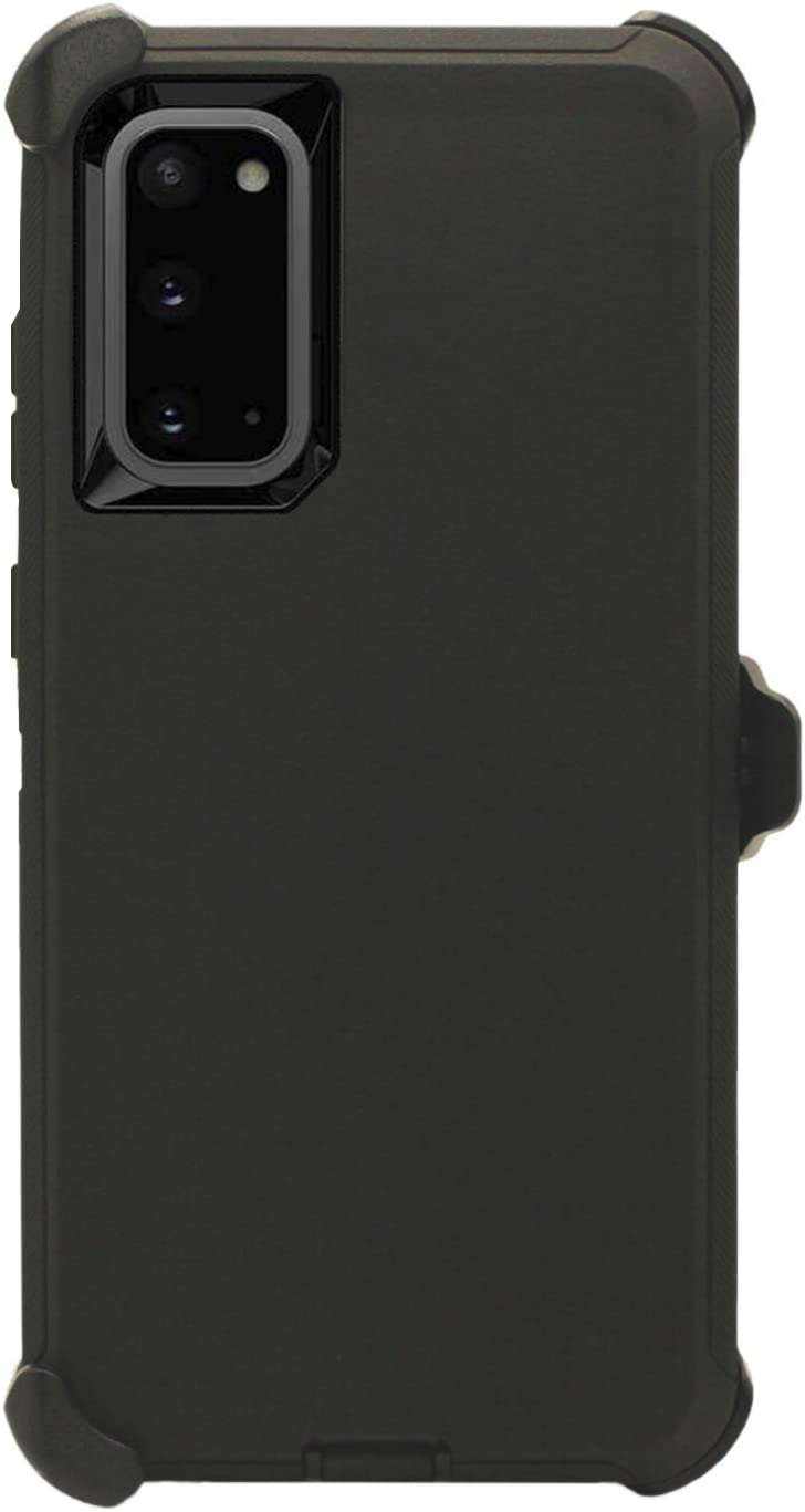 """WallSkiN Turtle Series Belt Clip Cases for Galaxy S20 (6.2""""), 3-Layer Full Body Life-Time Protective Cover & Holster & Kickstand & Shock, Drop, Dust Proof - Black/Black"""