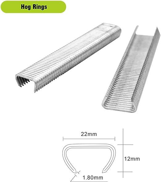 10,000 PCS//BOX 2 Boxes meite SR15 15 Gauge 1.8 mm Diameter 22 mm Crown Galvanzied HOG RING for BeA HR60-22 Hong Ring Plier