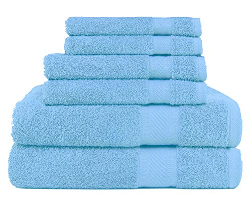 SweetNeedle - Uso diario Juego de toallas de 6 piezas, Azul Claro - 2 toallas de baño 70x140 CM, 2 toallas de mano 50x90 CM, 2 paño de lavado 30x30 CM - Algodón 100% ringings, peso pesado y absorbente