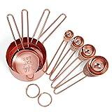 Adanse Rosegold Acero Inoxidable Vaso medidor y cucharas Juego de 8 mediciones grabadas, martillo y espejo pulido, para hornear y cocinar