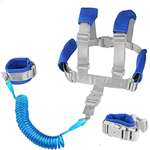 Baby Anti Lost Wrist Link -Anti Lost Backpack Leash Baby Leash Safety Walking Leash Wrist Link with Upgraded Safety Locks for Kids Toddler Leash Anti Lost (2 in 1 Dark Blue 8.2 Foot) …