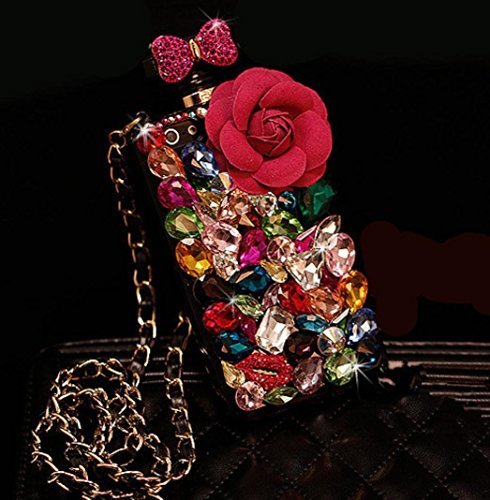 Omio for iPhone7 Plus / iPhone8 Plus Case, Perfume Bottle Shell 3D Luxury Glitter Colorful Crystal Diamond Rhinestone Chain Flower Bling Bowknot Shiny Lip Cover for Apple iPhone 7 Plus/iPhone 8 Plus