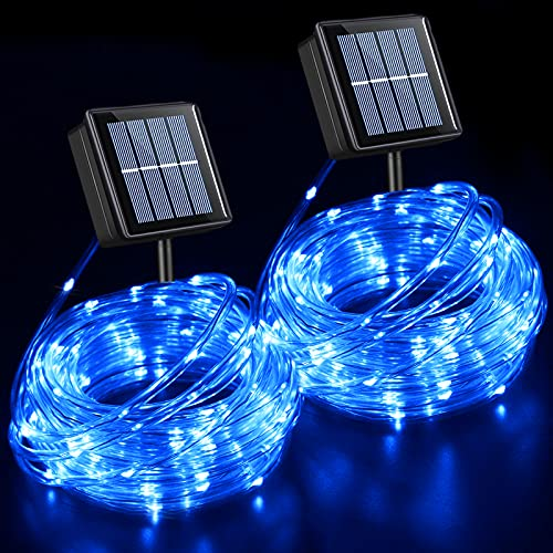 YEGUO Solar Rope Lights Outdoor Waterproof LED, 2 Pack Each 33ft 100 LED Rope Lights Outdoor, PVC Tube Blue Fairy String Lights for Pool Balcony Tree Garden Yard Fence Party Walkway Path