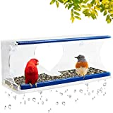 Window Bird Feeder for Outside with 4 Strong Suction Cups & Sliding...