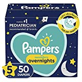 Pampers Diapers Size 5, 50 Count - Swaddlers Overnights Disposable Baby Diapers, Super Pack (Packaging May Vary)
