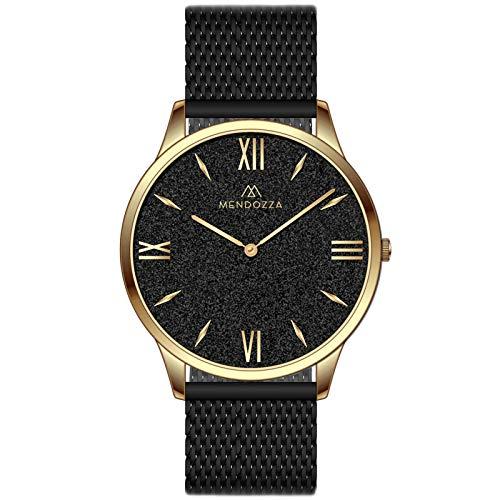 MENDOZZA Herren Armbanduhr Black Sand Edelstahl Mesh-Armband Designer Herren-Uhr Flach Schweizer Uhrwerk Saphirglas Schwarz 39mm Gold/Schwarz