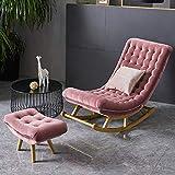 AFEO-Liegen Schaukelstuhl Liegestuhl Nap Liege Esszimmerstuhl der schwangeren Frau Stuhl Lesestuhl Schlafzimmer Wohnzimmer Balkon Terrasse Sonnenliege Freizeit Sofastuhl (Color : Dark pink)