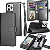 Tekcoo Wallet Case Compatible with iPhone 13 Pro (6.1 inch) 2021 Luxury ID Cash Credit Card Slots Holder Carrying Pouch Folio Flip PU Leather Cover [Detachable Magnetic Hard Case] - Black