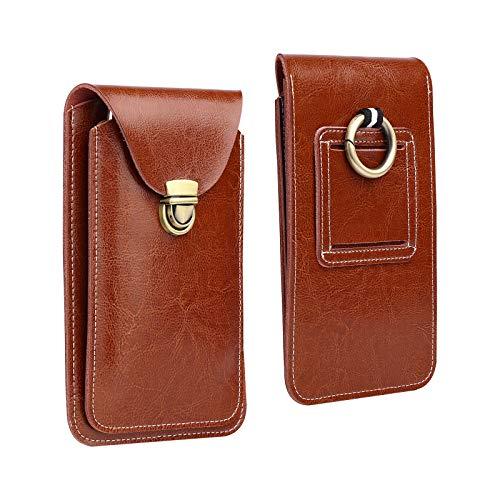 Kookio - Funda de piel para teléfono móvil con clip para cinturón de hasta 6,7 pulgadas (17 cm)