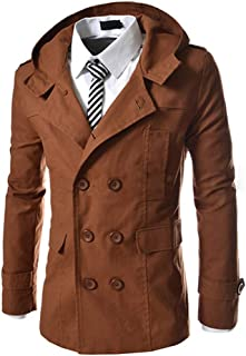 Men's Hooded Trench Coat Double-Breasted Business Windbreaker Jacket Spring Fashion Slim Fit