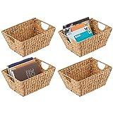 mDesign Juego de 4 cestas trenzadas con asas – Organizador de estantes para...