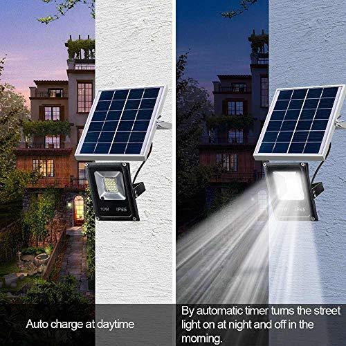 FENGTY Zonne-Licht Led Solar Lights Waterproof Solar Floodlights 10W Afstandsbediening Timer Lighting Control Buitenverlichting Spotlight Tuinlamp Wandlamp, 1Pcs 10W
