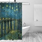 Ahomy Duschvorhang Van Gogh Starry Nacht über der Rhone Bad Wasserdicht Polyester-Mildewproof-, Vorhang für die Dusche 12Haken Sichtschutz Home Badezimmer 182,9x 182,9cm