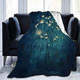 Manta personalizada, constelación de acuario, suave y cómoda manta de felpa para sofá, dormitorio, viajes, manta mullida de 101 x 122 cm