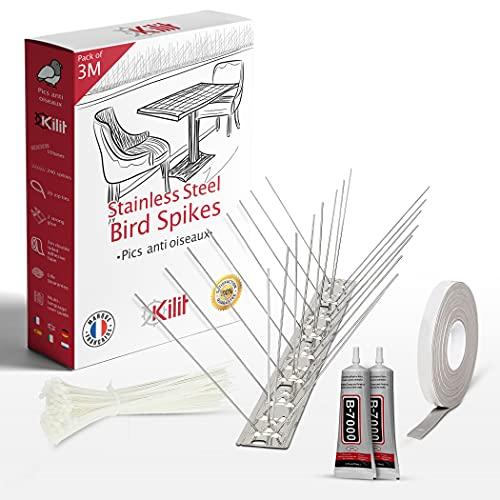 KALIGEN - Lote de 3 metros de acero inoxidable repelente de pájaros 100% ecológico, 20 collares de apriete +++++++++++++++++++++++ adhesivo de doble cara | Pack de 3 metros (10 x 30 cm)