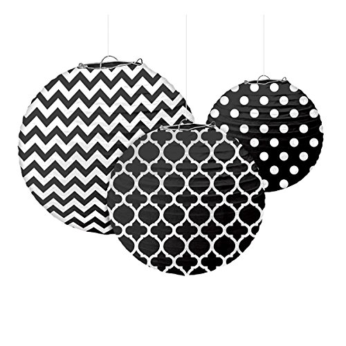 Amscan Black Printed Paper Lanterns (3ct)