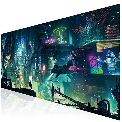 Imegny Led Gaming Mouse Pad Oversized Glowing Mat Colorful Soft Mat for Mice Computer Keyboard with Non-Slip Rubber Base Water-Resistant- 35.415.7Inch (rgbgreencity)