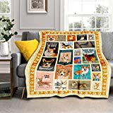 DZGlobal Corgi Printed Throw Plush Blanket Bedding Fleece Blankets for Bed and Couch, Super Soft Comfy Warm Fuzzy TV Blanket