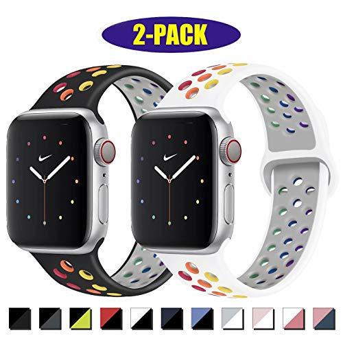 INZAKI Kompatibel mit Apple Watch Armband 42mm 44mm,weich atmungsaktives Silikon Sport Ersatzband für Armband für iWatch Serie 5/4/3/2/1,Nike+,Sport,wasserdicht,M/L,W-Pride/B-Pride