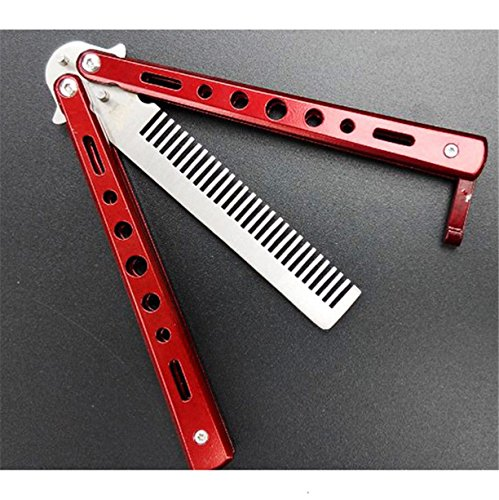 1 Set Combs Hairbrush Red Stunning Practice Training Stainless Steel Butterfly Knife Outdoor Comb Combo Pocket Long Round Handle Holder Good Popular Beard Hair Brush Natural Grooming Kids Travel Kit