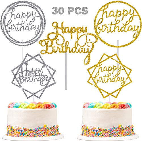 30 Pieces Glitter Happy Birthday Cake Topper Birthday Cupcake Topper Colorful Cake Decorations for Birthday Party Supply (Gold, Silver)