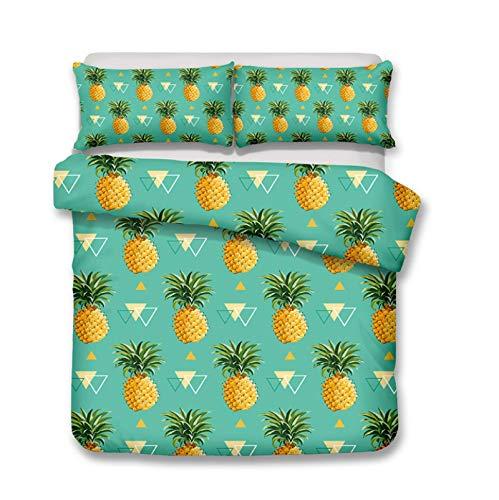 KYNWCLRW Duvet Cover Set Double, 3D Digital Print Pineapple Double Bedding, Premium Polyester-Cotton Fashion Printedduvet Cover And Pillowcase Set, For Kids (180X200Cm)