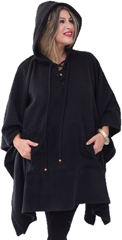 LOTUSTRADERS Poncho Cheap sale Jacket Hooded Lacing outlet Fleece Q757