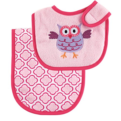 Luvable Friends Unisex Baby Bib and Burp Cloth Set, Pink, One Size