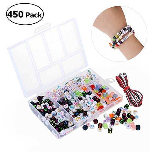 WIMONO: 450x Buchstaben für farbige Perlenketten, alphabetische Perlen aus Acryl zum Selbermachen von Schmuck, Armbändern, Halsketten und Schlüsselketten.