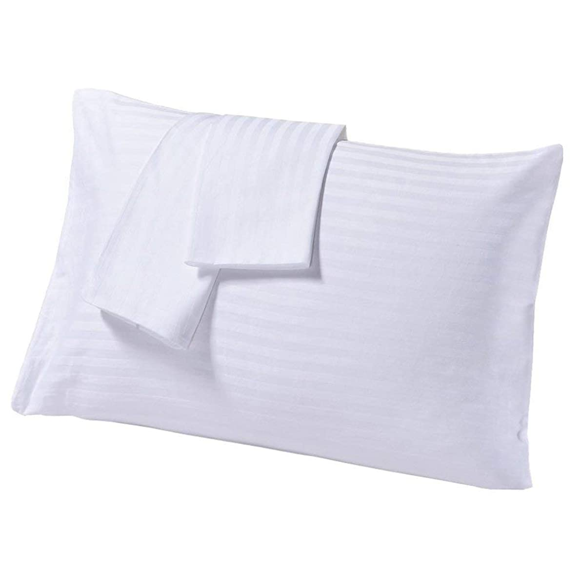 Egyptian Cotton Set of 2 Travel Pillow Cases 14X20 White Striped 500 Thread Count Zipper Closer With 100% Egyptian Cotton