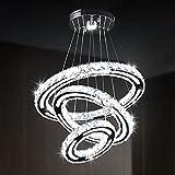 Iluminación de araña de cristal moderna, lámpara colgante de 3 anillos DIY, diseño de acrílico, accesorio de luz de cristal LED ajustable para techo