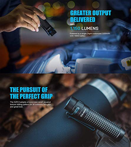 Olight S2R Baton II EDC Torch 1150 Lumens 135 Meters Luminus Cool White LED USB Magnetic Rechargeable Portable Torches Variable-Output Hand Flashlight Lamp,with 18650 Battery+ Tidusky Battery Case