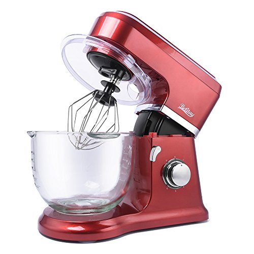 Betitay Stand Mixer,6-Speed Tilt-Head Kitchen Mixer with Splash Guard,4.5 QT Glass Bowl,Mixing Beater,Whisk,Dough Hook and Silicone Brush(Red/Glass)
