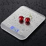 5/10 kg Digital Acero inoxidable Balanzas USB digital Precisión electrónica Escala dietética para la dieta para cocinar Herramientas de medida para hornear escalas (color: gris plateado, cojinete de c