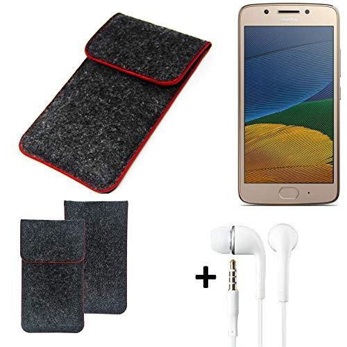K-S-Trade Handy Schutz Hülle Für Lenovo Moto G5 Dual-SIM Schutzhülle Handyhülle Filztasche Pouch Tasche Hülle Sleeve Filzhülle Dunkelgrau Roter Rand + Kopfhörer