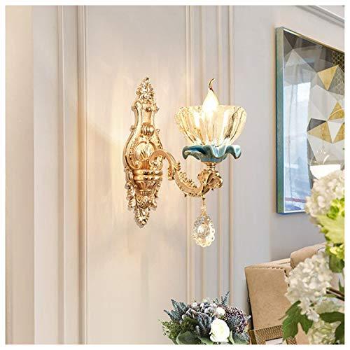GJNWRQCY enkelwandige kristallen wandlamp in Europese stijl, geschikt voor woonkamer, achterwand, slaapkamer, bed, hotel, gang