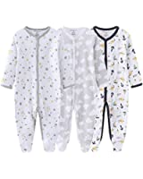 Unisex Baby 3-Pack Organic Cotton Snap Footed Sleep and Play Pajamas Long Sleeve Bodysuit