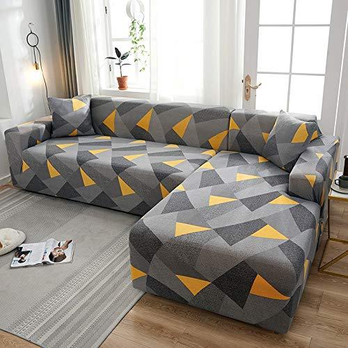 Fundas de sofá elásticas a Cuadros para Sala de Estar para Fundas sofás con Chaise Longue Funda sofá Funda para sillón A11 2 plazas